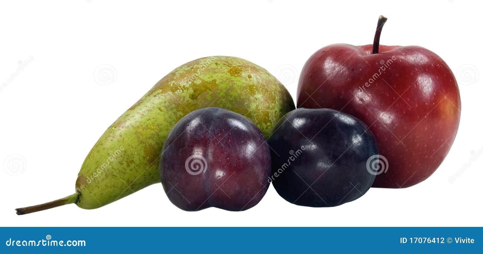 Purpurrote Pflaumen Birne und Äpfel
