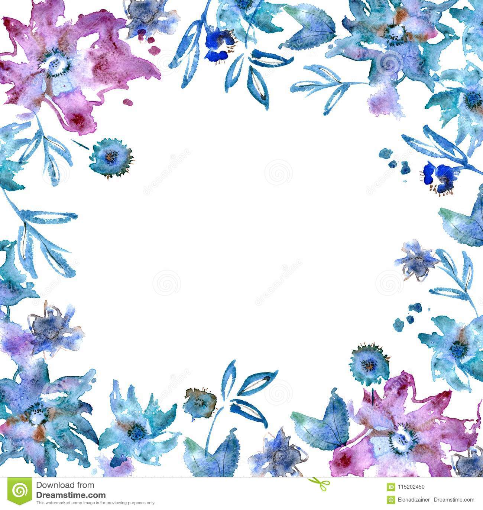Purpurroter Blumenrahmen Des Netten Aquarells Handgemalter ...