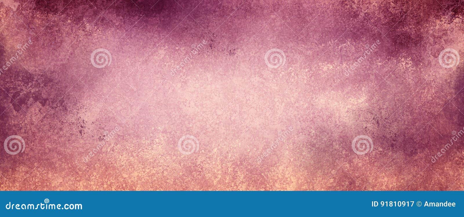 Purpurroter und rosa Hintergrund der Weinlese auf verblaßtem beige Papier mit Schmutz maserte Grenzen mit Schalenfarbe