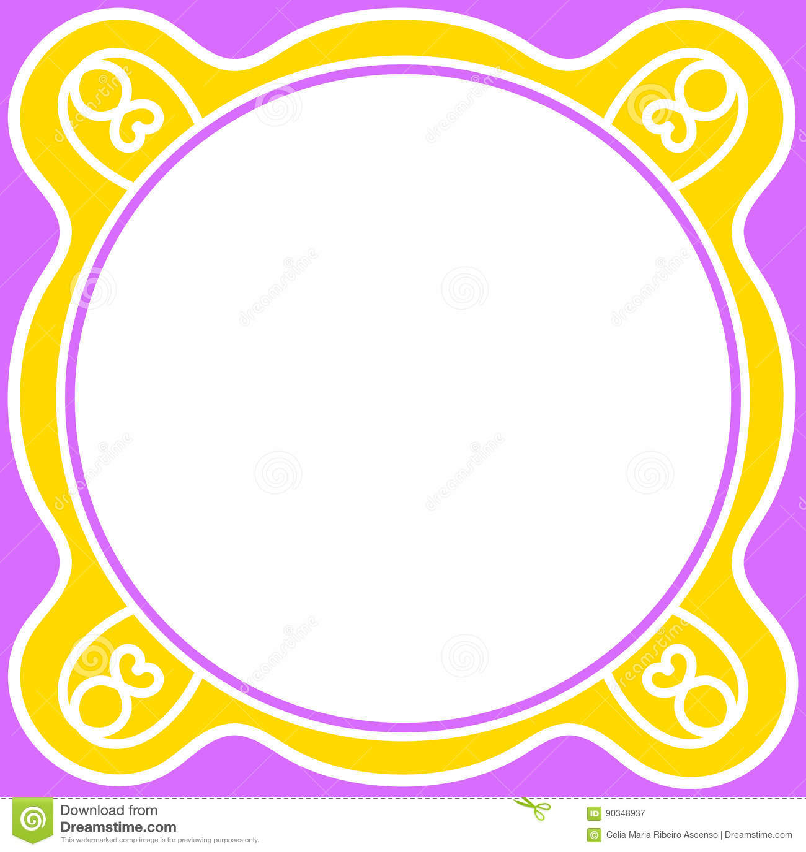 Purpurrotes Gelb Des Kreisgrenzrahmens Stock Abbildung ...