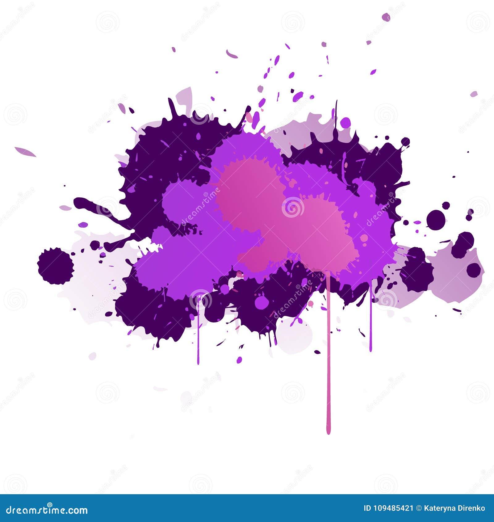 Purpury, fiołek, bez i błękitne akwareli plamy, Jaskrawy koloru element