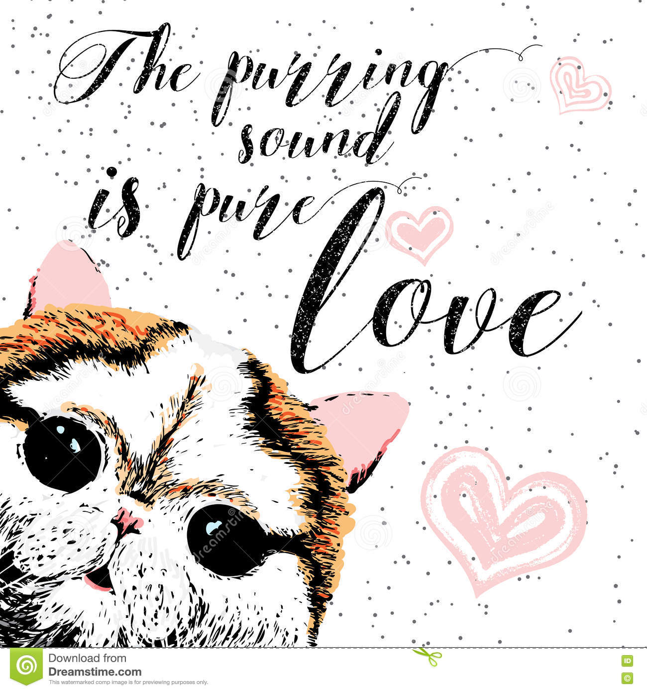The Purring Sound Is Pure Love Greeting Card And Motivational Quote