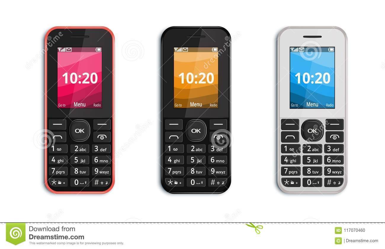 Push-button mobile phone stock vector  Illustration of