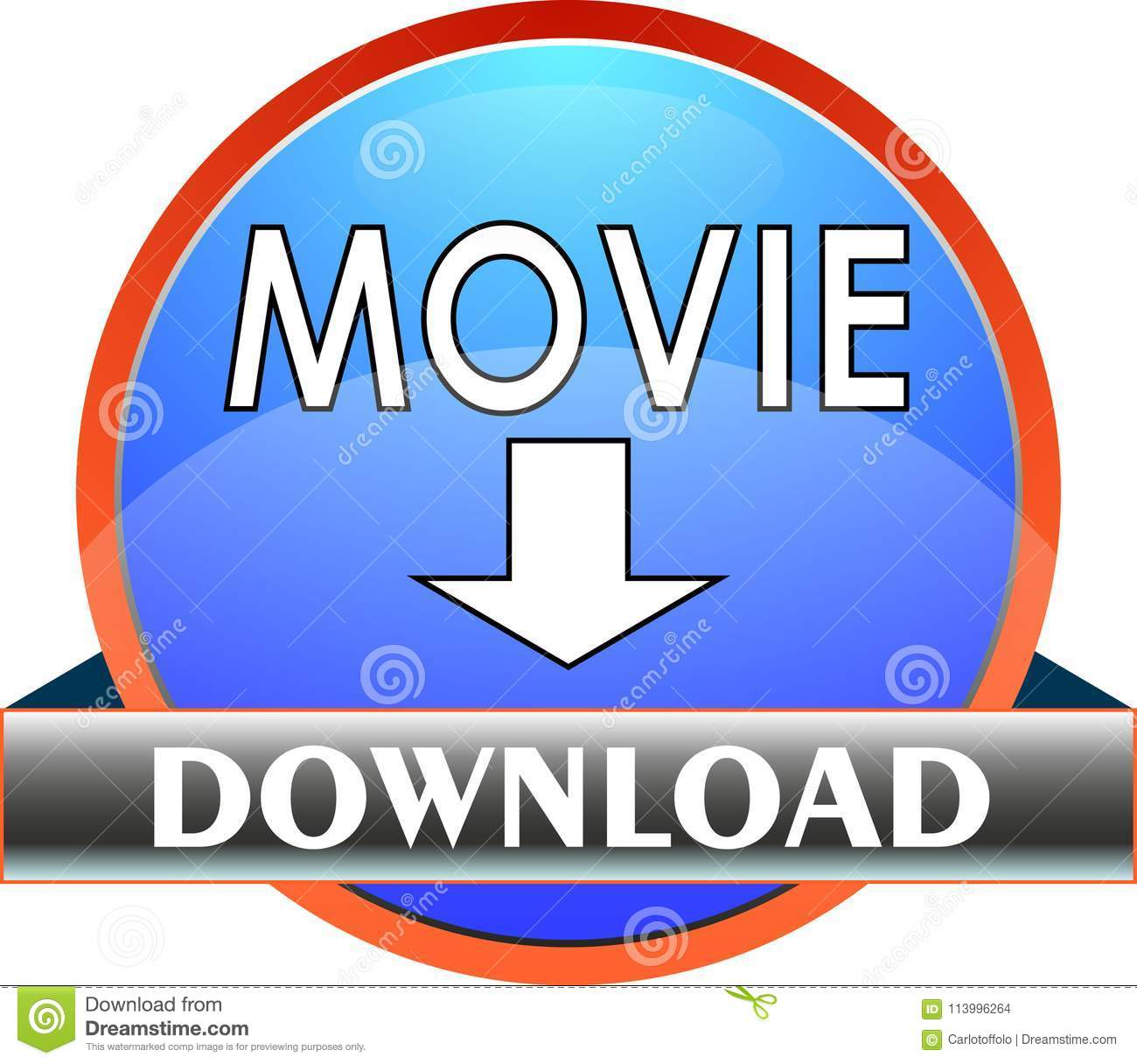 Push Button MOVIE Download - Vector Stock Vector - Illustration of