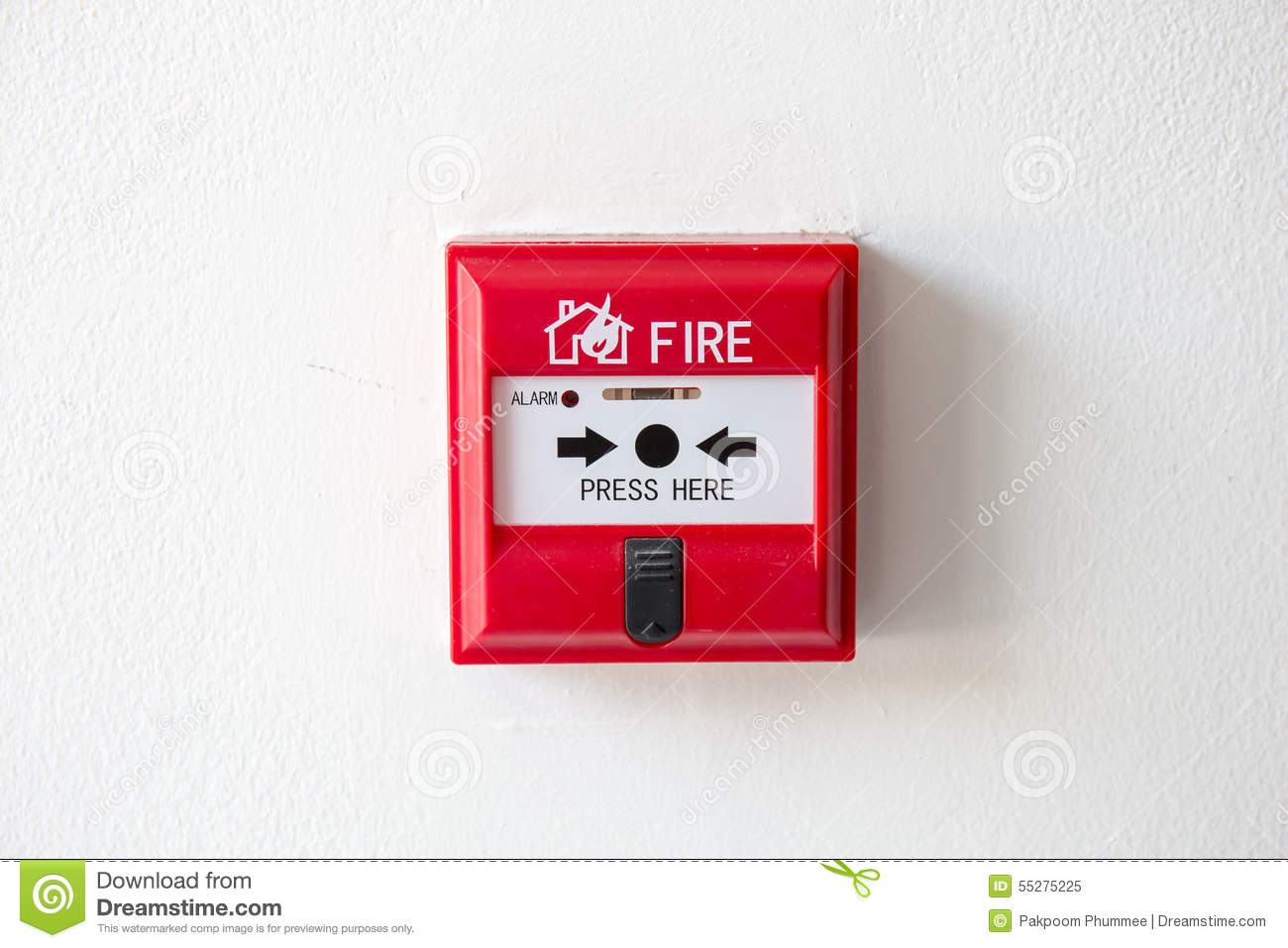 Push Button Switch Fire Alarm Box On Cement Wall Stock