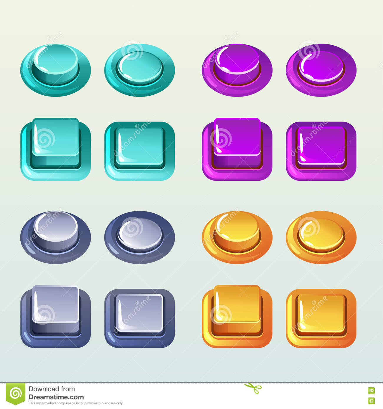 Push Buttons For A Game Or Web Design Element, Set2