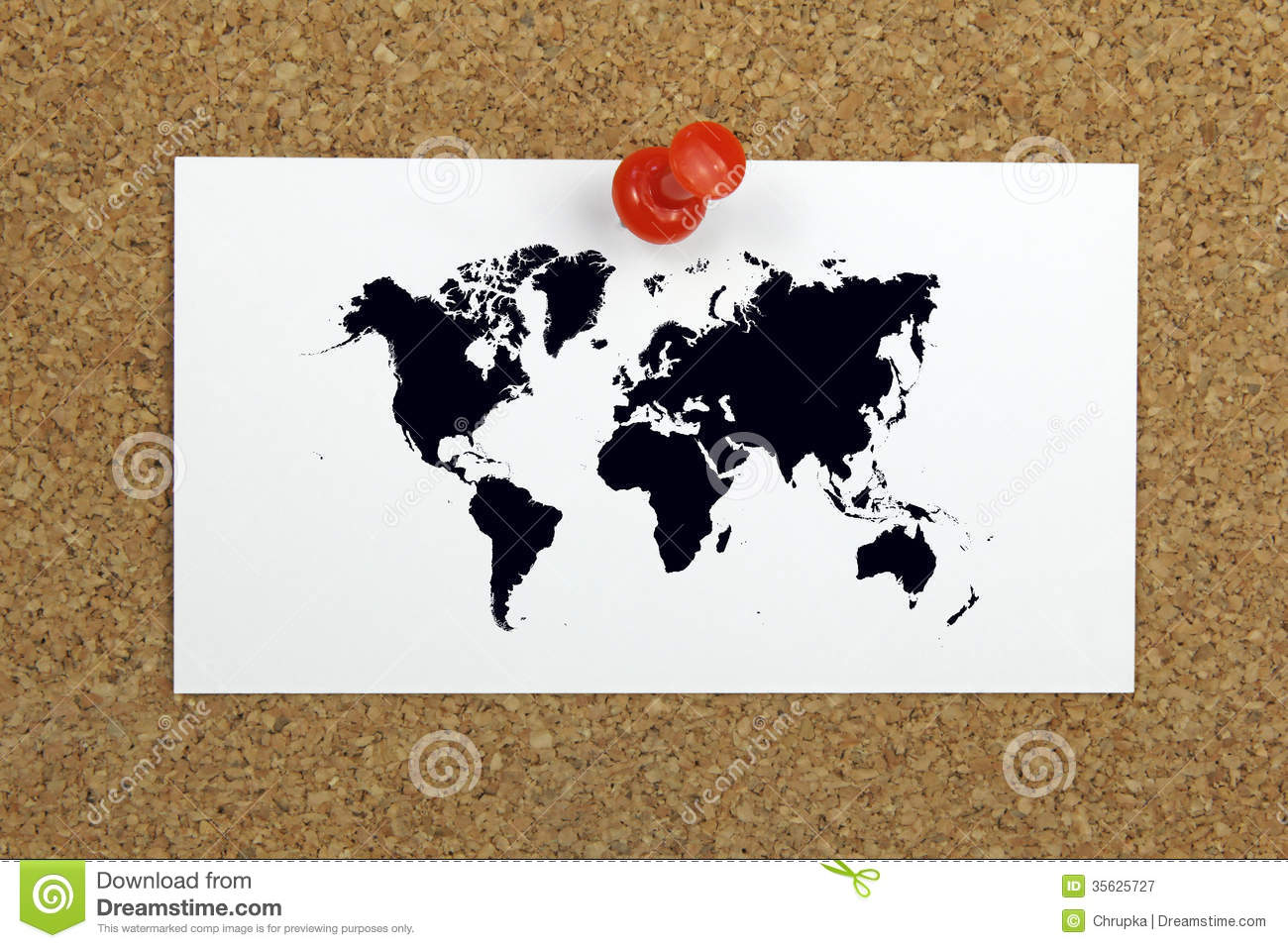 Push Pin Holding Card With World Map On A Cork Board Stock Image ...