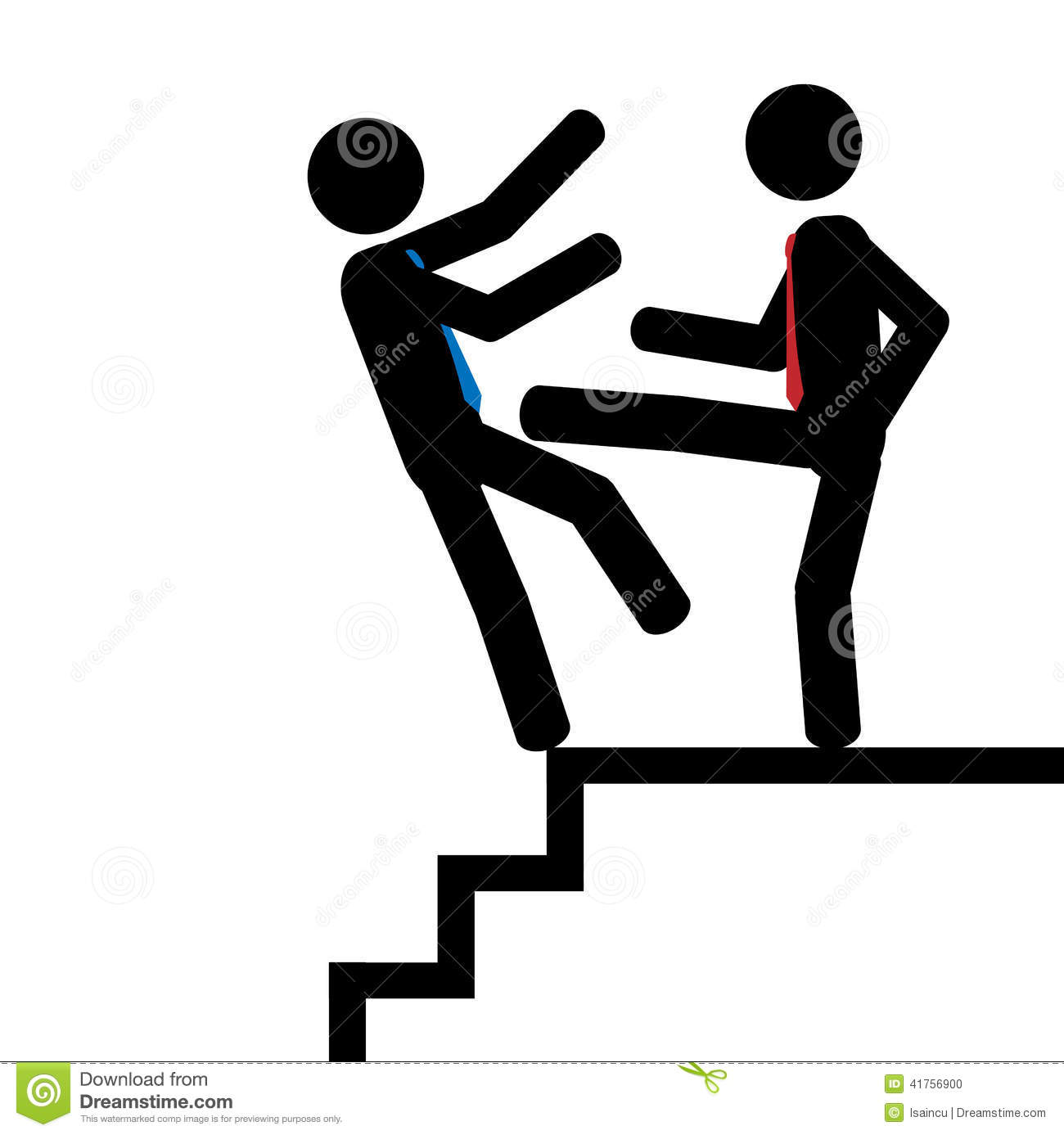 Vector/illustration. Man push another man down on the stairs.