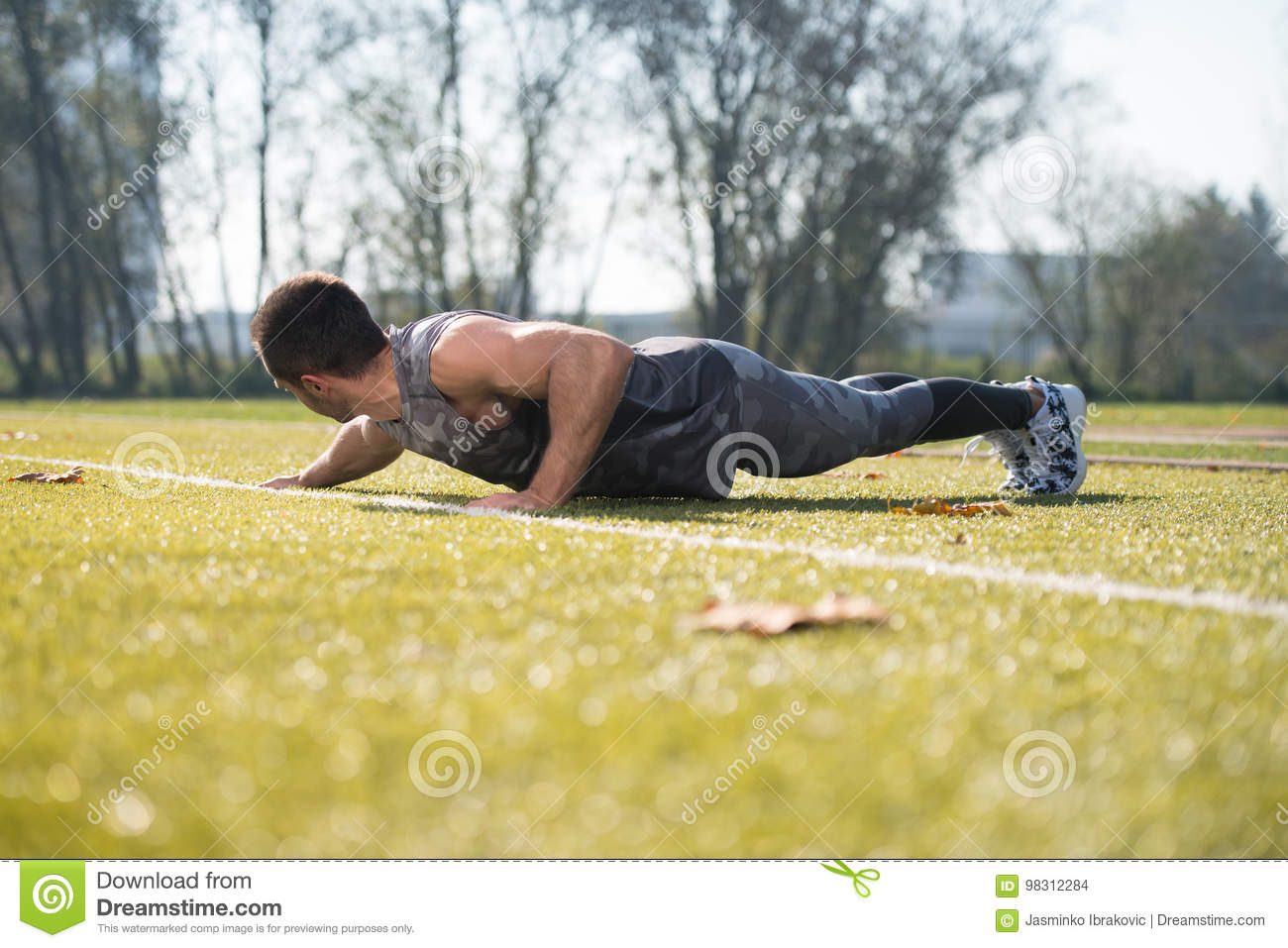 Push Up Exercise Outdoors stock photo  Image of people