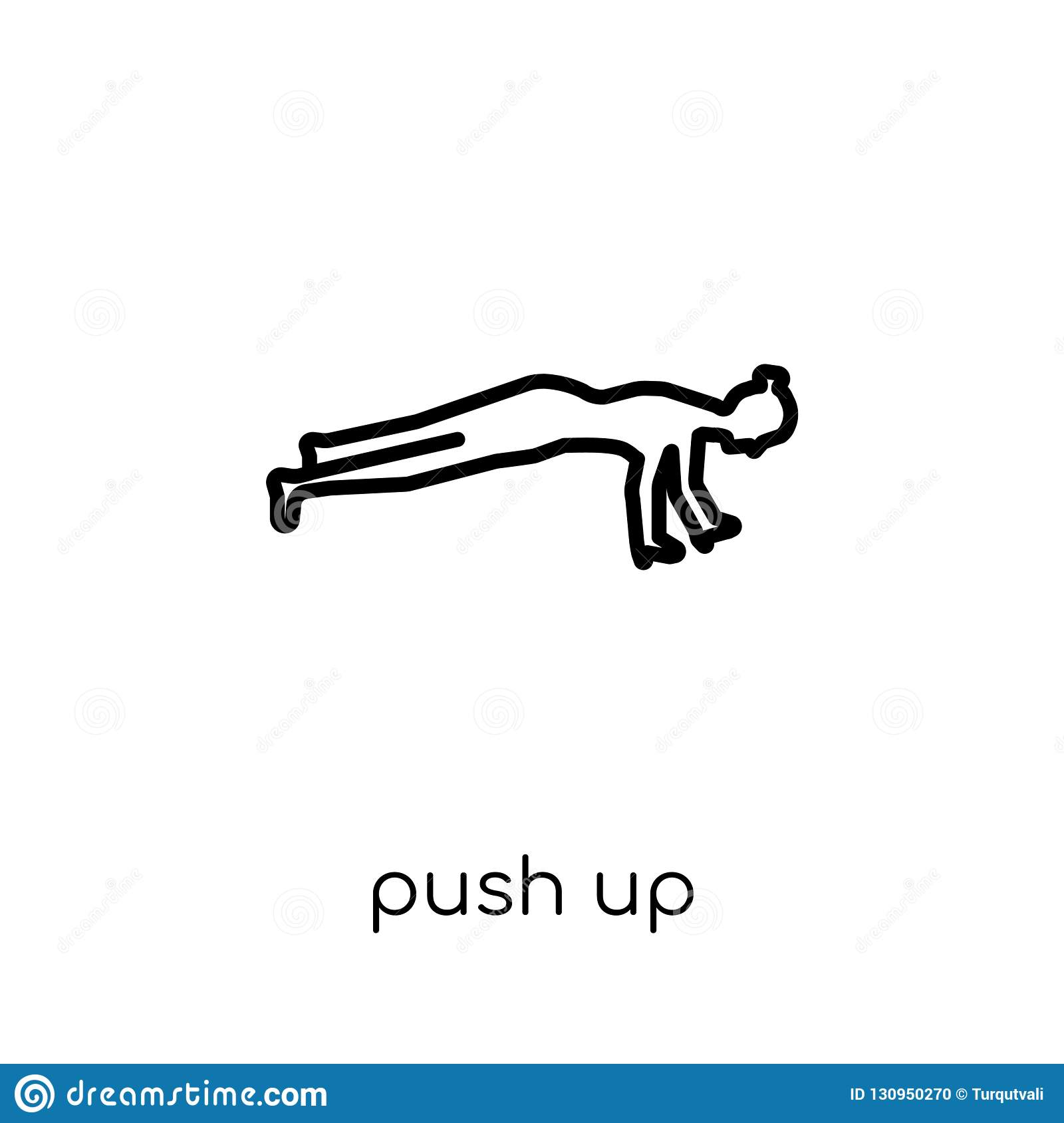 Push up icon. Trendy modern flat linear vector Push up icon on w