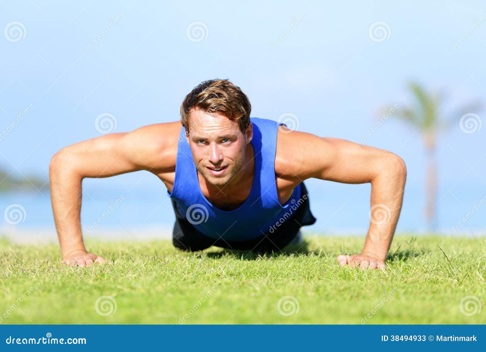 Push-ups - Fitness Man Training Push Up Outside Stock ...