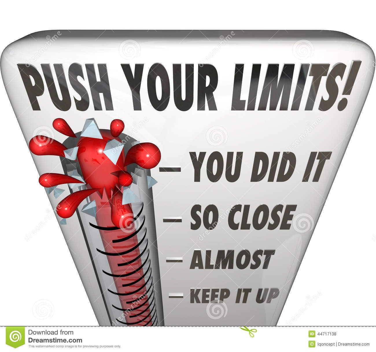 Push Your Limits Try Effort Thermometer You Did It Stock ...