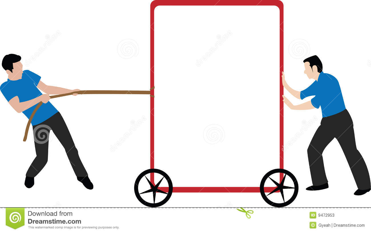 Pushing And Pulling Empty Frame Stock Vector