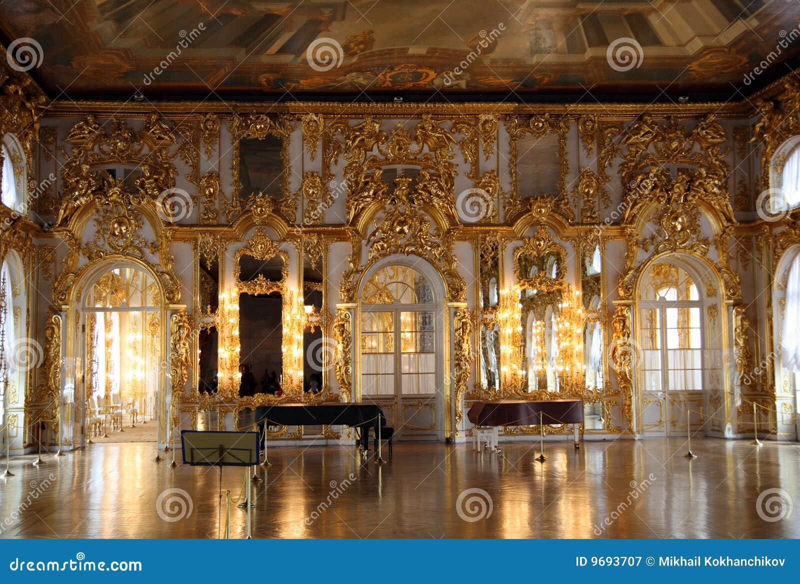 大厅内部宫殿彼得斯堡pushkin俄国圣徒.图片