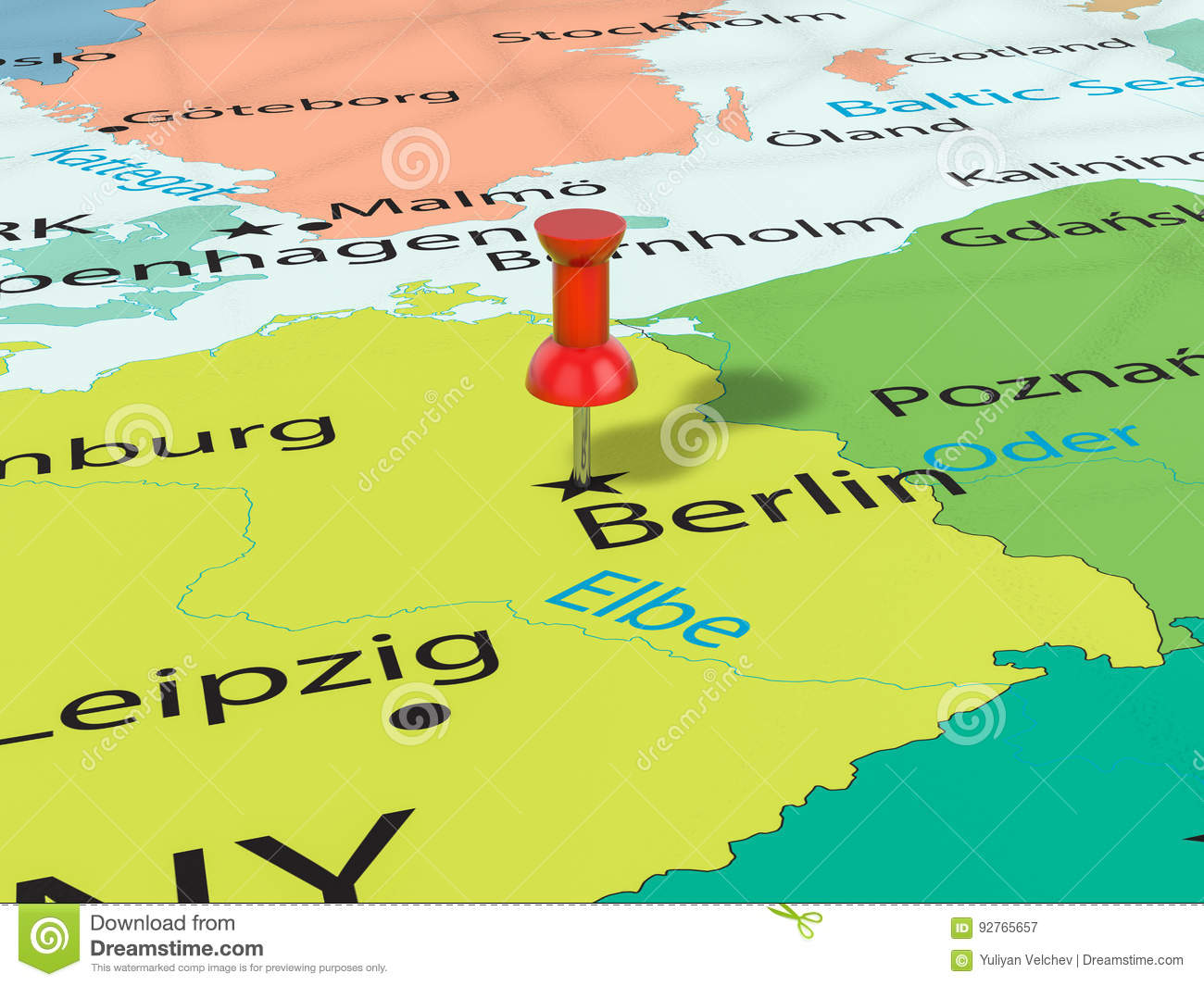 Pushpin on Berlin map stock illustration. Illustration of thumbtack ...