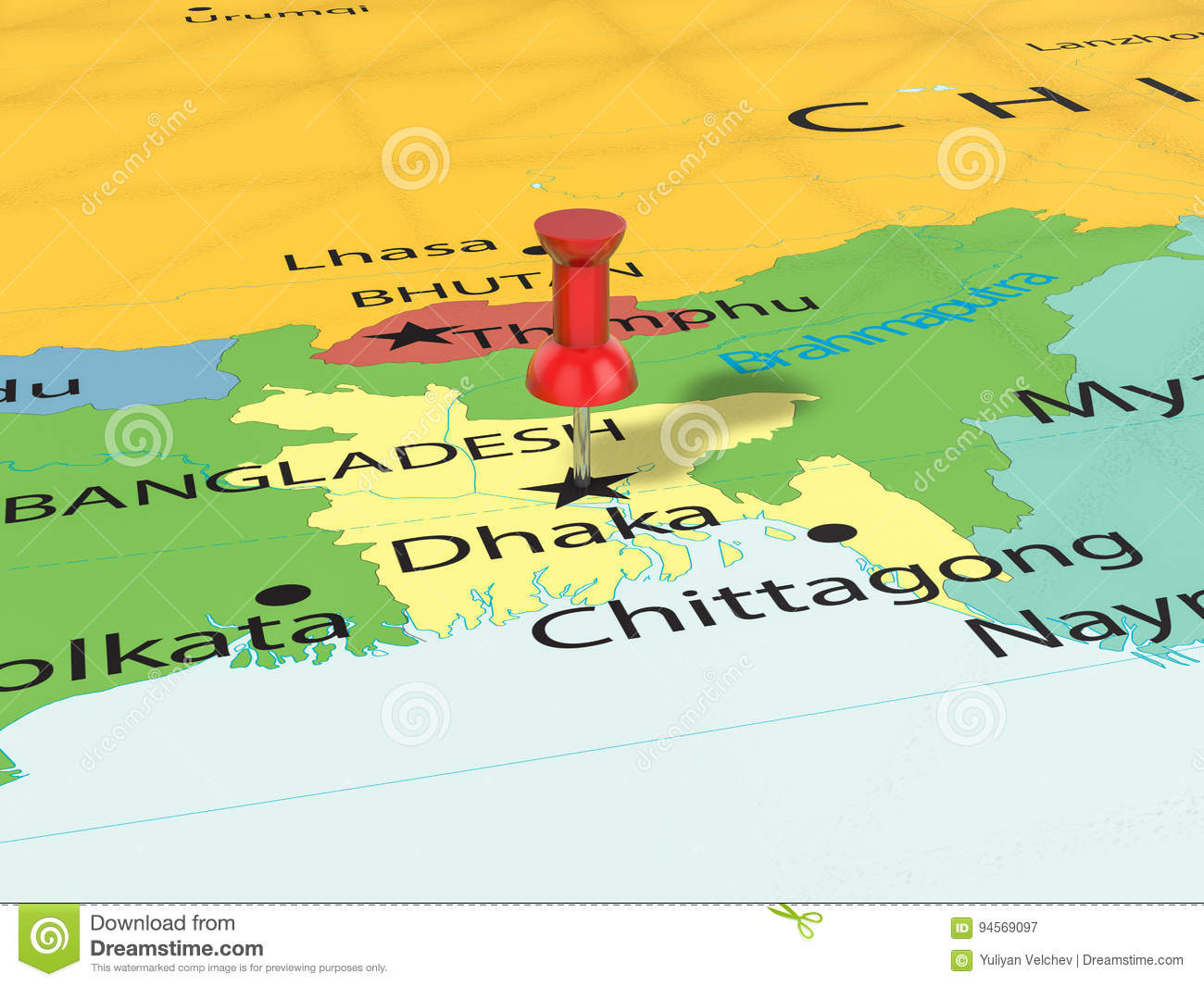 Pushpin on Dhaka map stock illustration. Illustration of pushpin ...