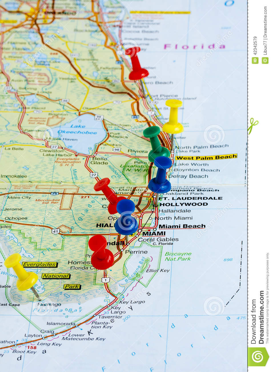 Pushpin Florida Map Pushpins Stock Photo Image - Florida map hallandale