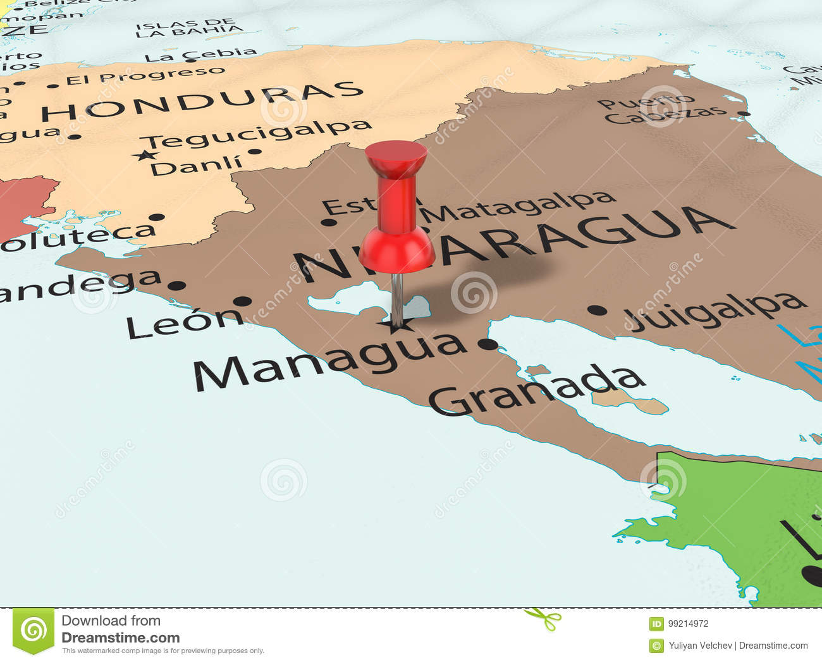 Pushpin on Managua map stock illustration. Illustration of nicaragua ...