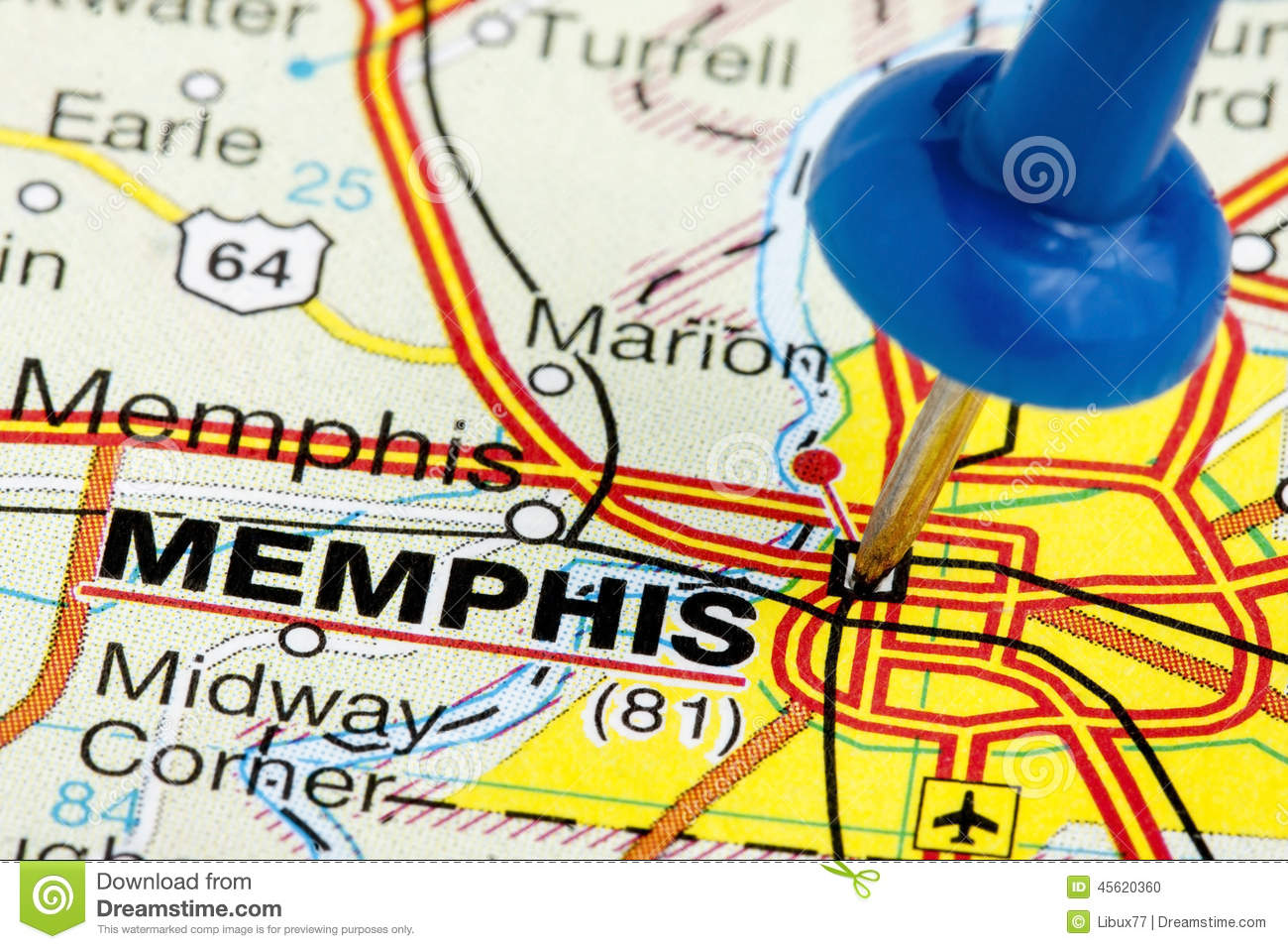 Pushpin Memphis Tennessee Map Closeup Stock Photo - Image of place ...