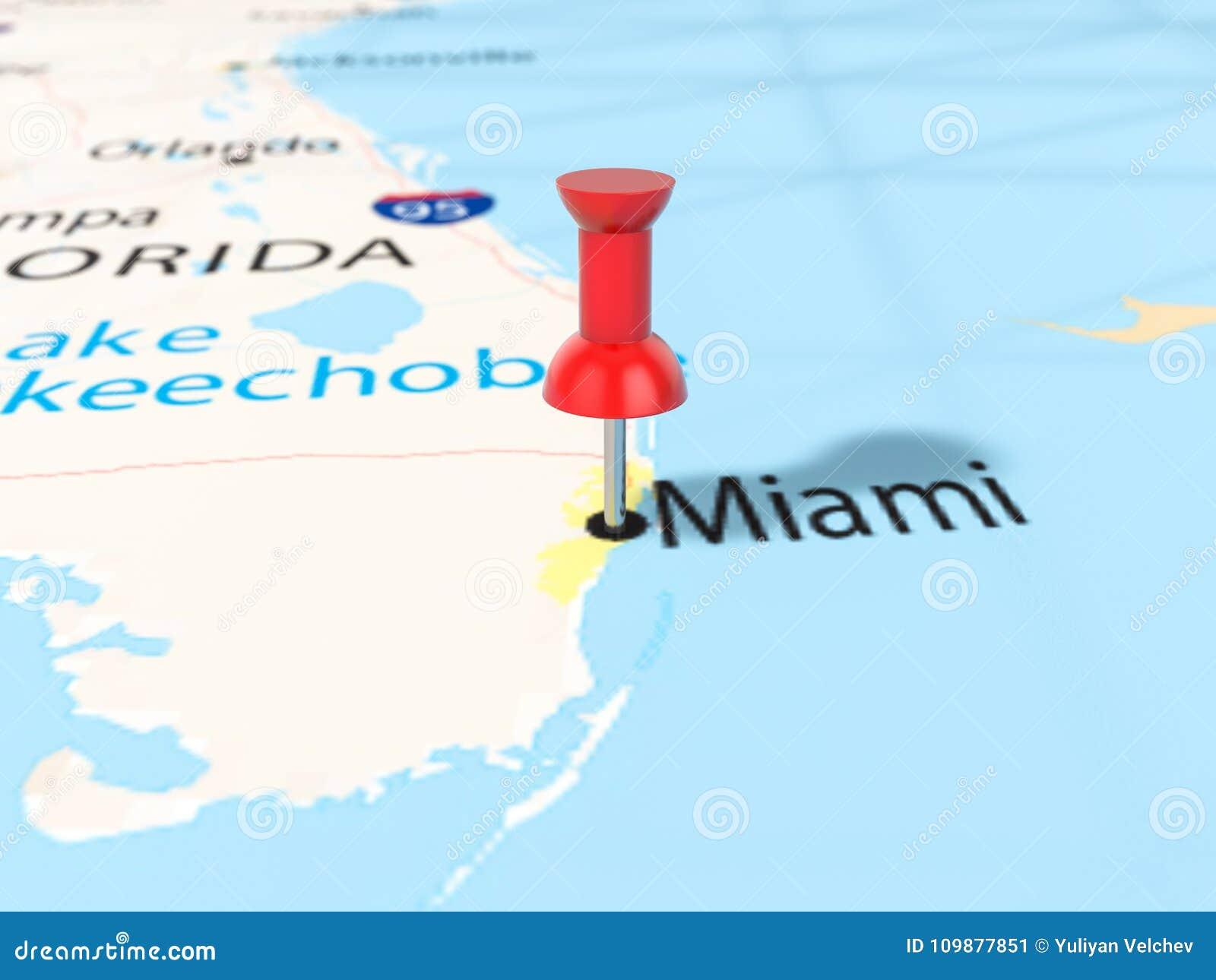 Map Of Miami Florida.Pushpin On Miami Map Stock Illustration Illustration Of Place