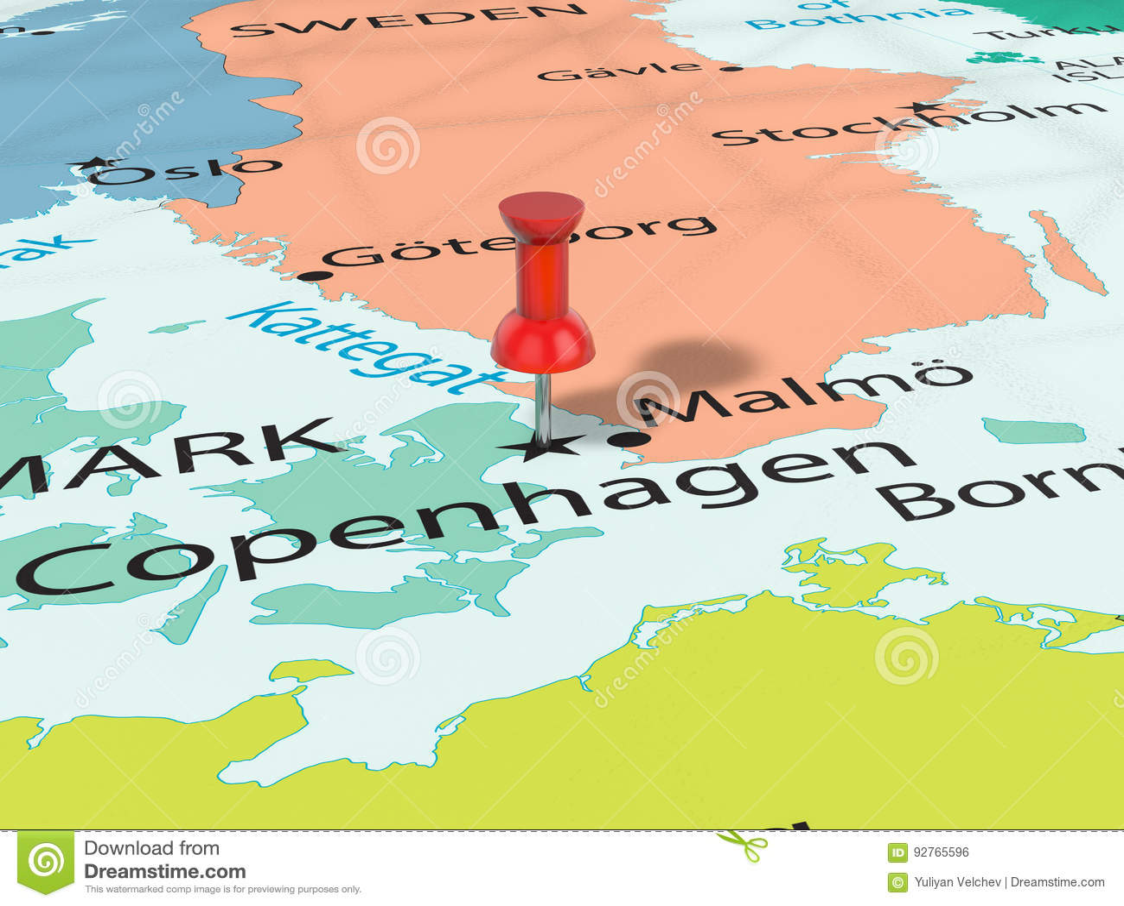 Pushpin Na Kopenhaga Mapie Ilustracji Ilustracja Zlozonej Z