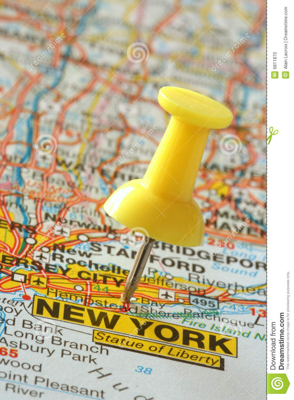 Geographical Map Of New York.Pushpin In New York Map Stock Photo Image Of City Geographical