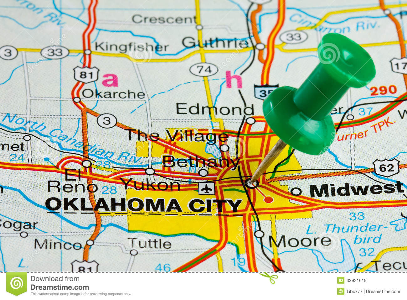 Pushpin In Oklahoma City Map Stock Image - Image of streetmap ... on