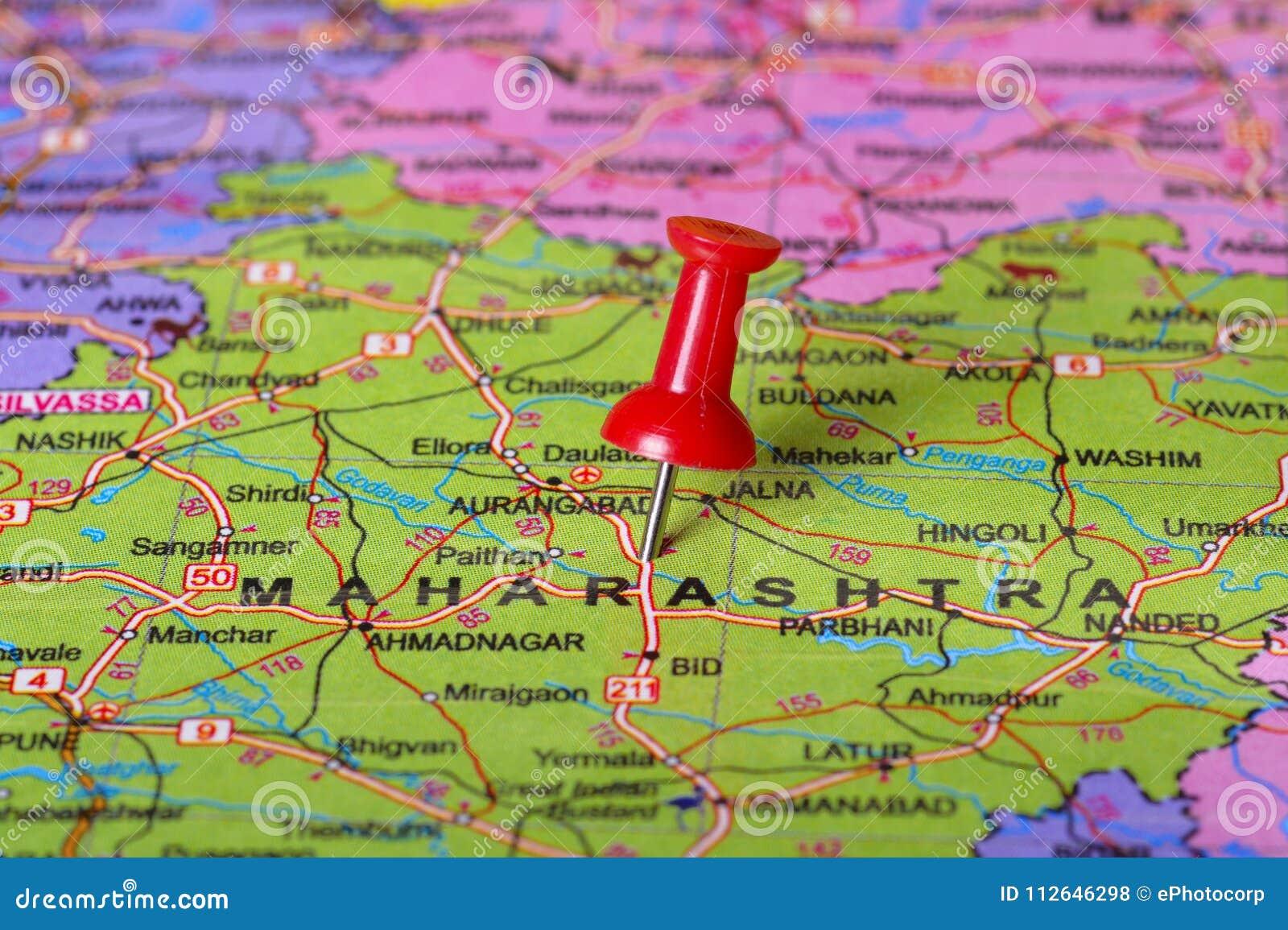 Pushpin Pointing To Maharashtra On A Map Of India Stock Photo