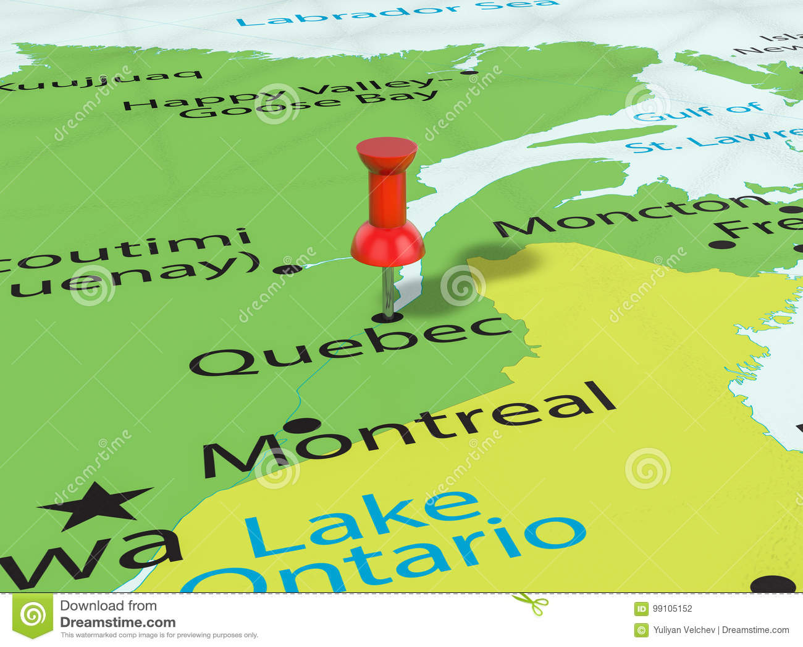 Quebec Karte.Pushpin On Quebec Map Stock Illustration Illustration Of Marker