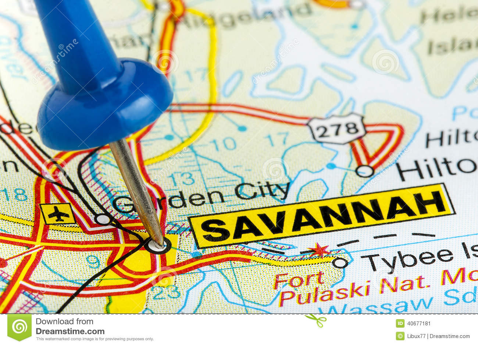 Map Pin In A Map Free Vector Instantshift Beautiful Free: Pushpin Savannah Georgia Map Closeup Stock Image