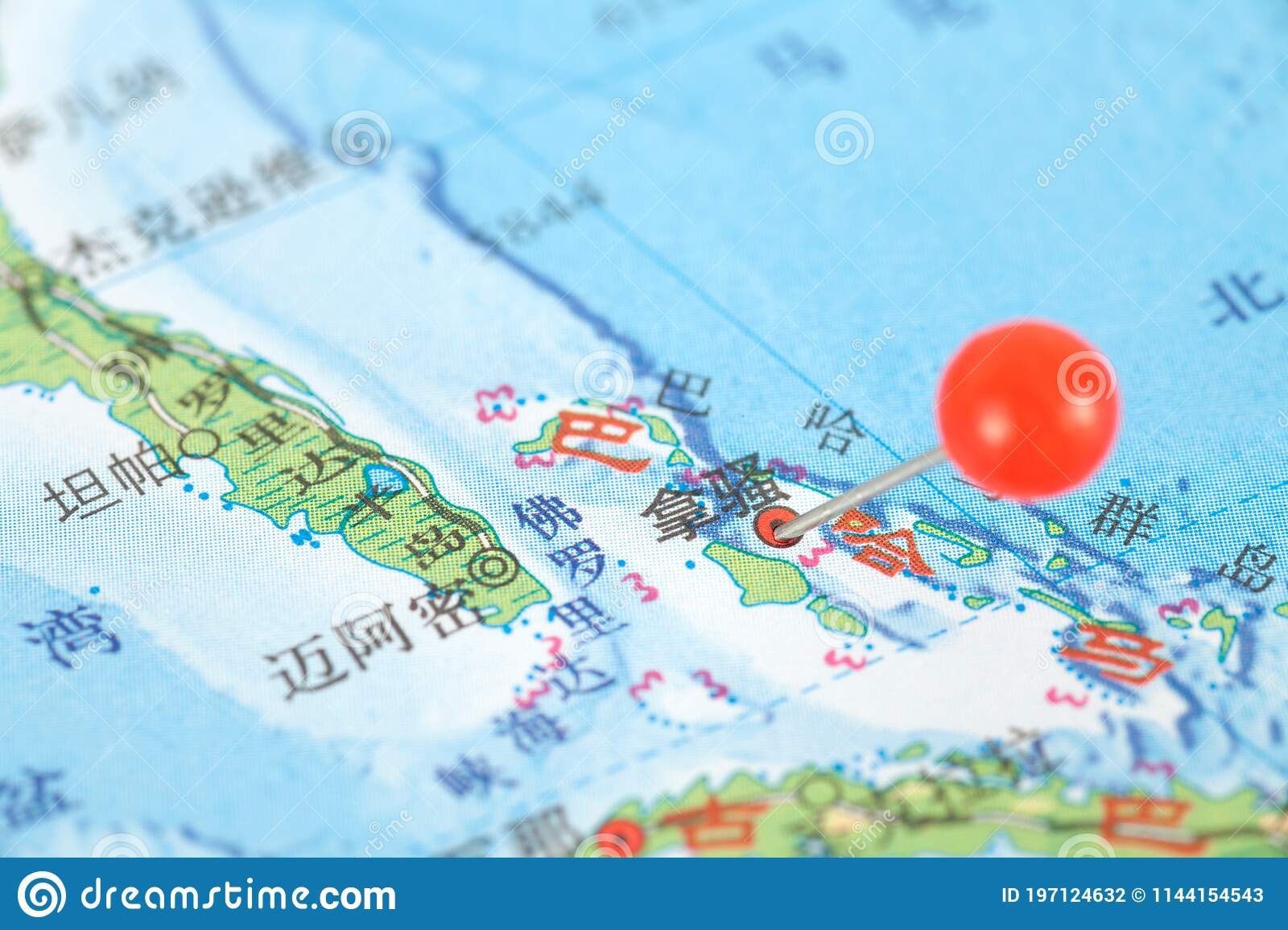 Picture of: Pushpins Mark The Location Of The Bahamas Capital Nassau On The Map Stock Photo Image Of Route Pushpin 197124632