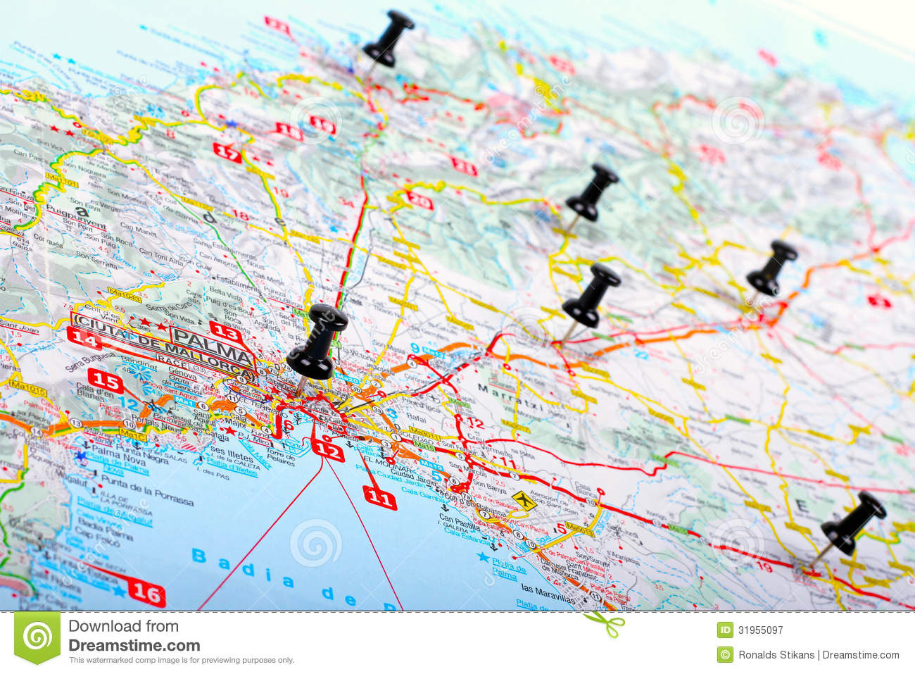 Pushpins Shows Destination Points On A Map Stock Image   Image of