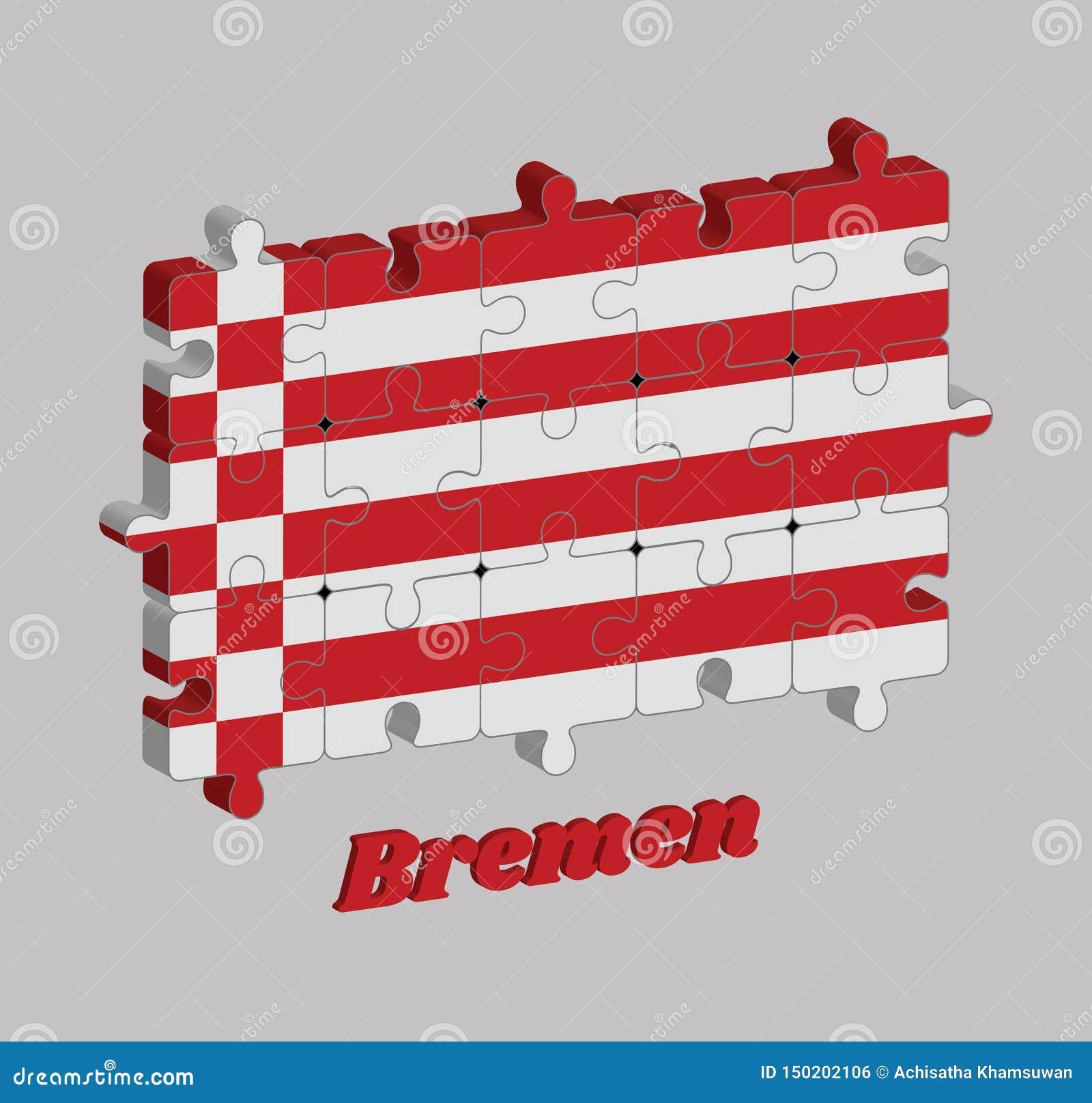 Pussel 3D av den Bremen flaggan, en röd och vit flagga Tillstånden av Tyskland
