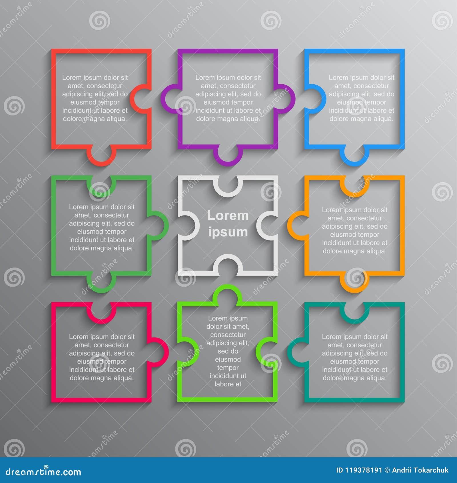 Pussel Infographics Momentpussel för rektangel 9