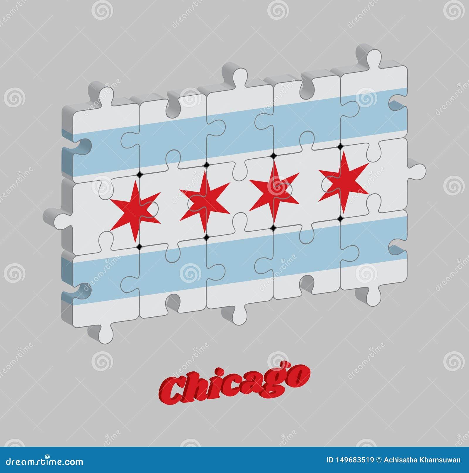 Pusslet 3D av den Chicago flaggan staden av Chicago är den mest tätbefolkade staden i Illinois, Amerikas förenta stater