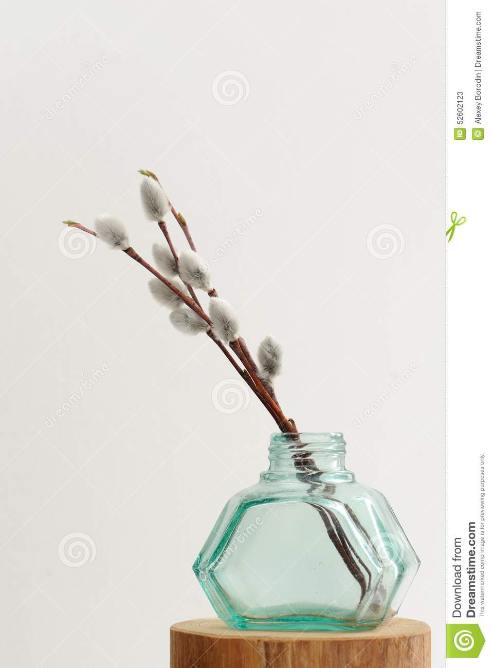 Willow twigs in green glass jar vase on white background stock royalty free stock photo reviewsmspy