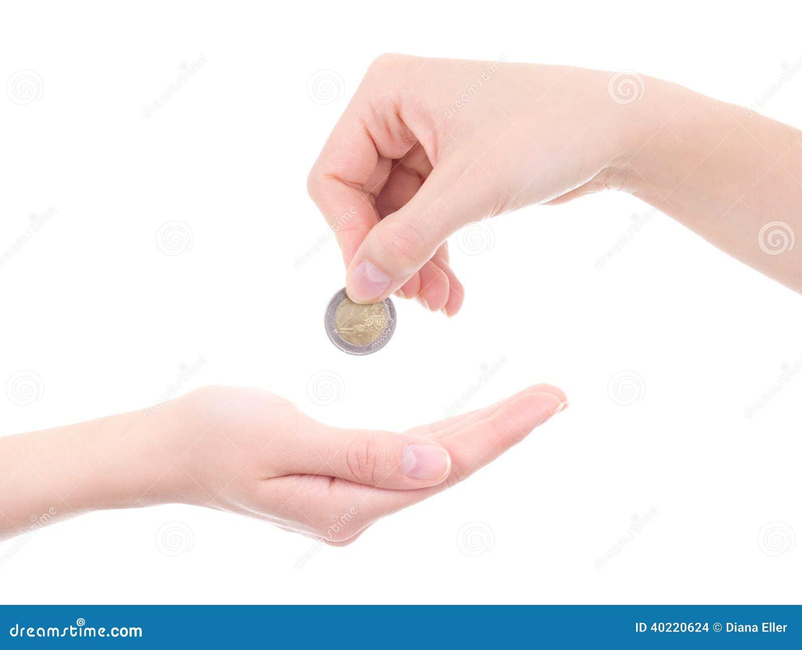 Pusta żeńska palmy i ręki mienia euro moneta odizolowywająca na bielu