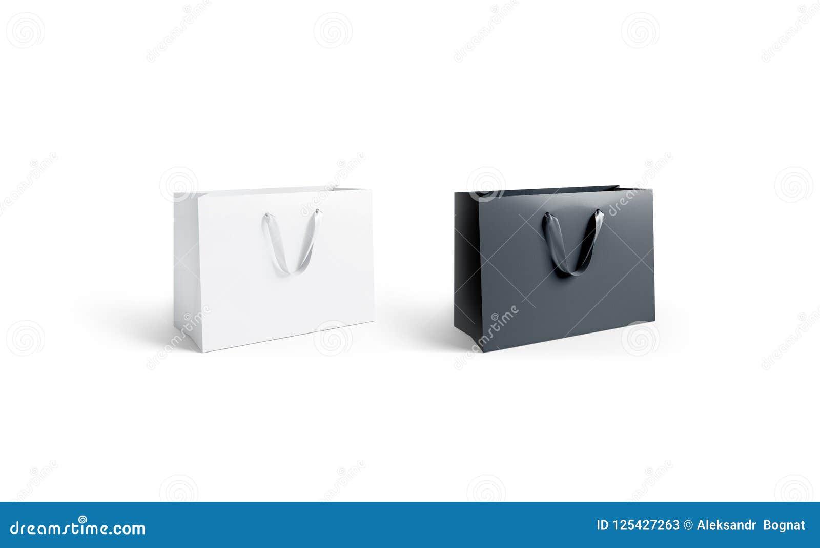 Pusta czarny i biały papierowa torba z jedwabniczym rękojeści mockup, odizolowywającym,