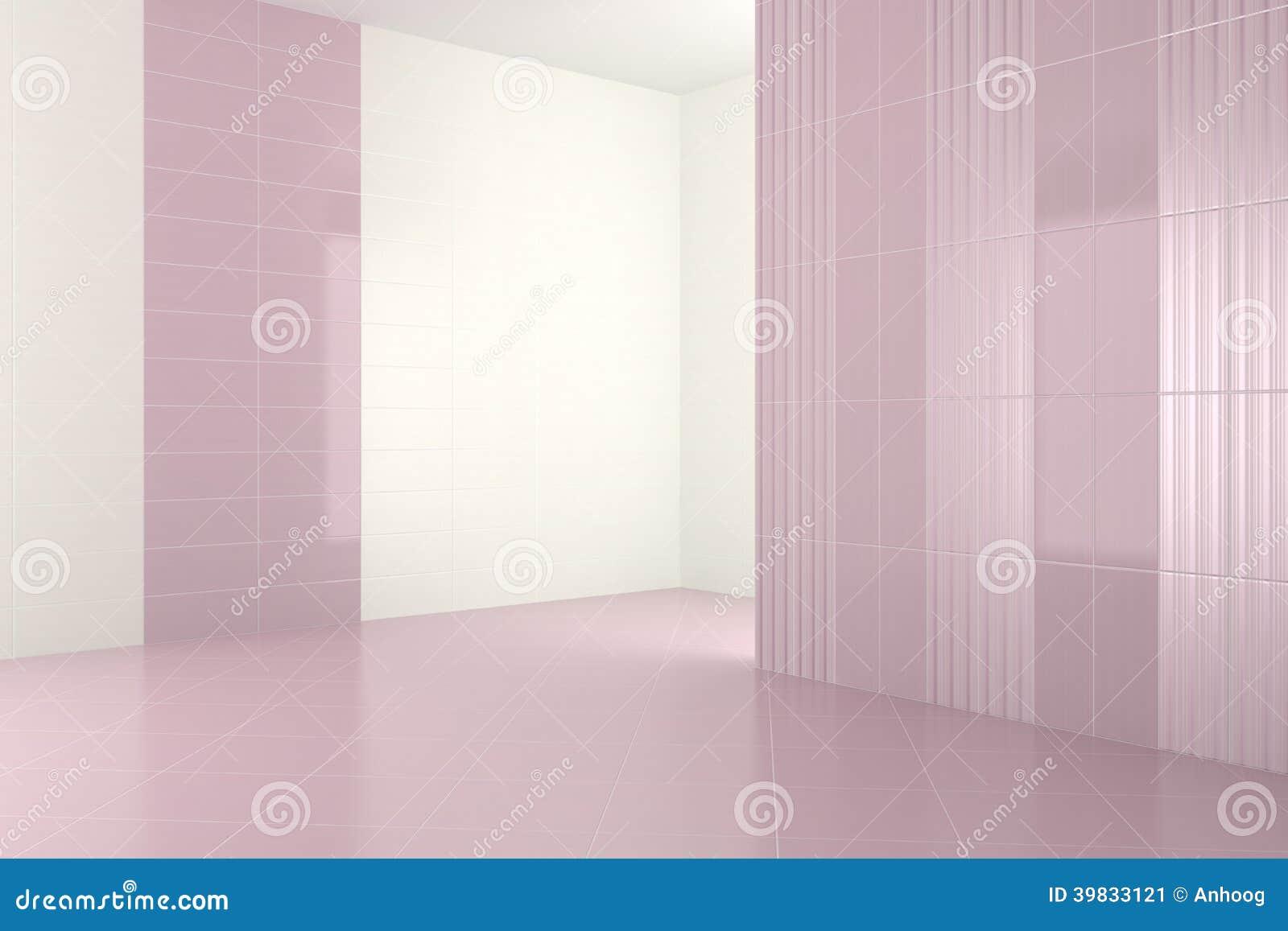 Pusta nowożytna łazienka z purpurowymi płytkami