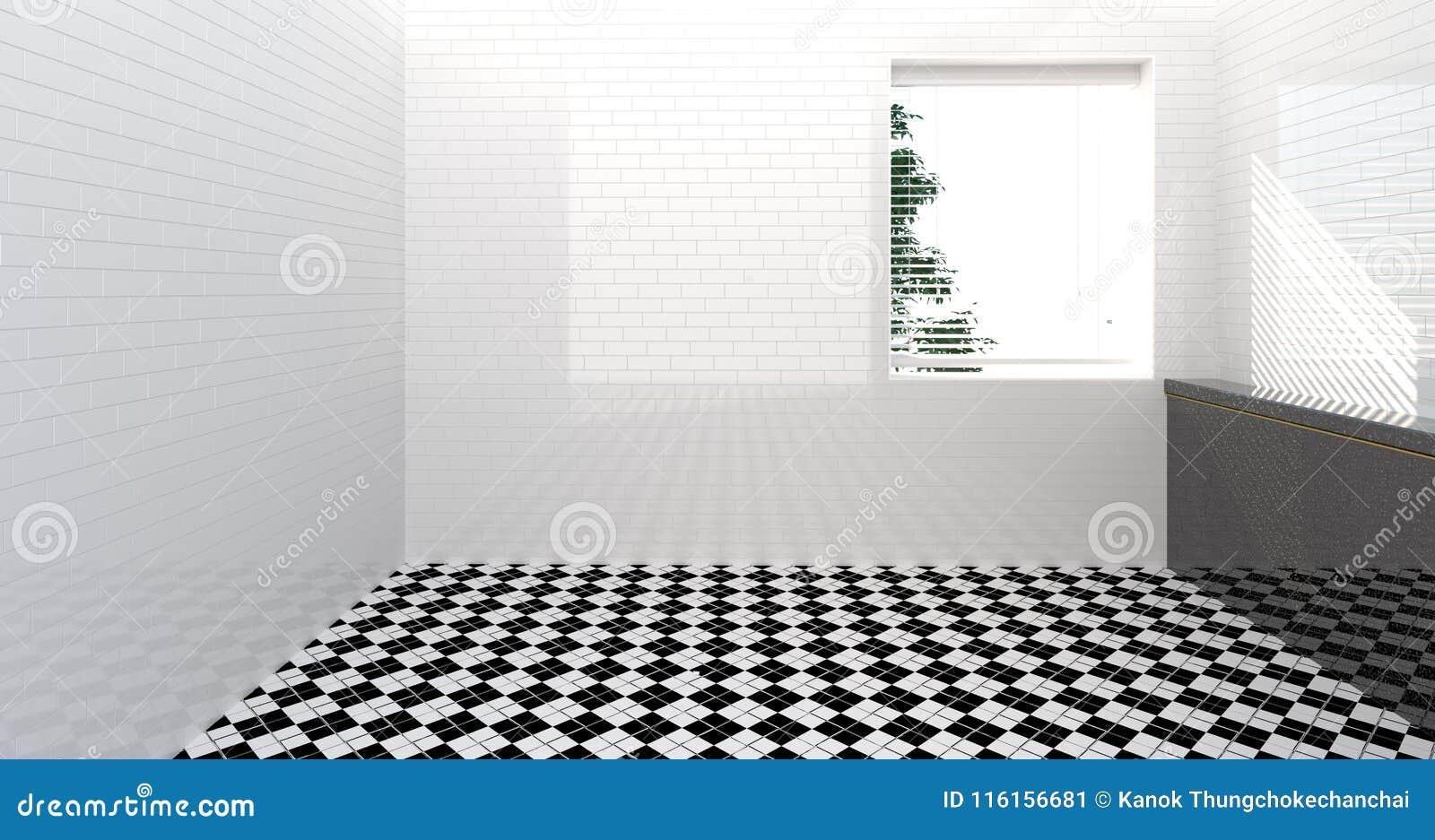 Pusta toaleta, prysznic, łazienki wnętrze, prysznic, izbowego biel ściany 3d ilustraci domu łazienki zlew nowożytny tło dla kopii