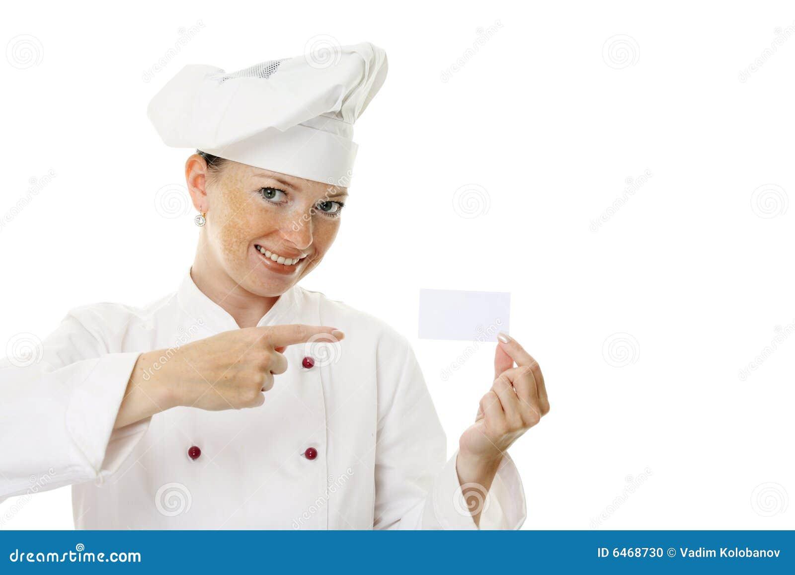 Puste karty piękna kobieta kucharza gospodarstwa