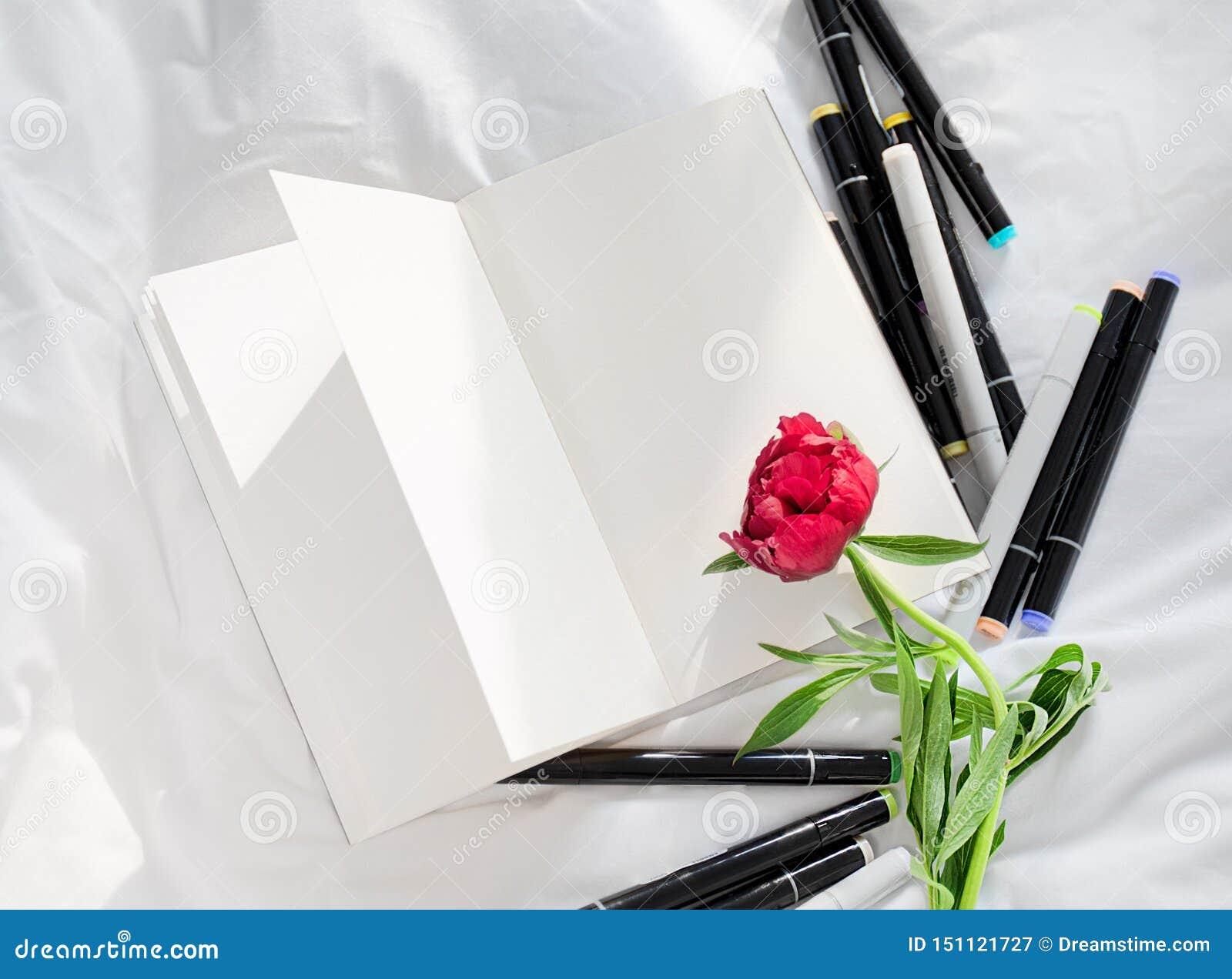 Puste miejsce otwarty dzienniczek na białym łóżku z stosem pióra