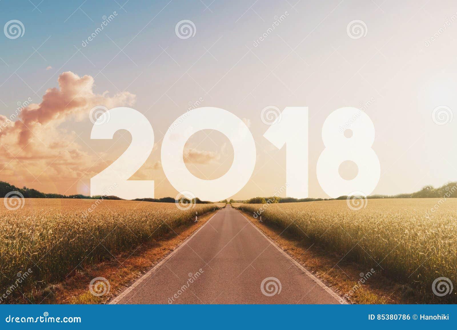 Pustego drogowego kłoszenia szczęśliwy nowy rok 2018