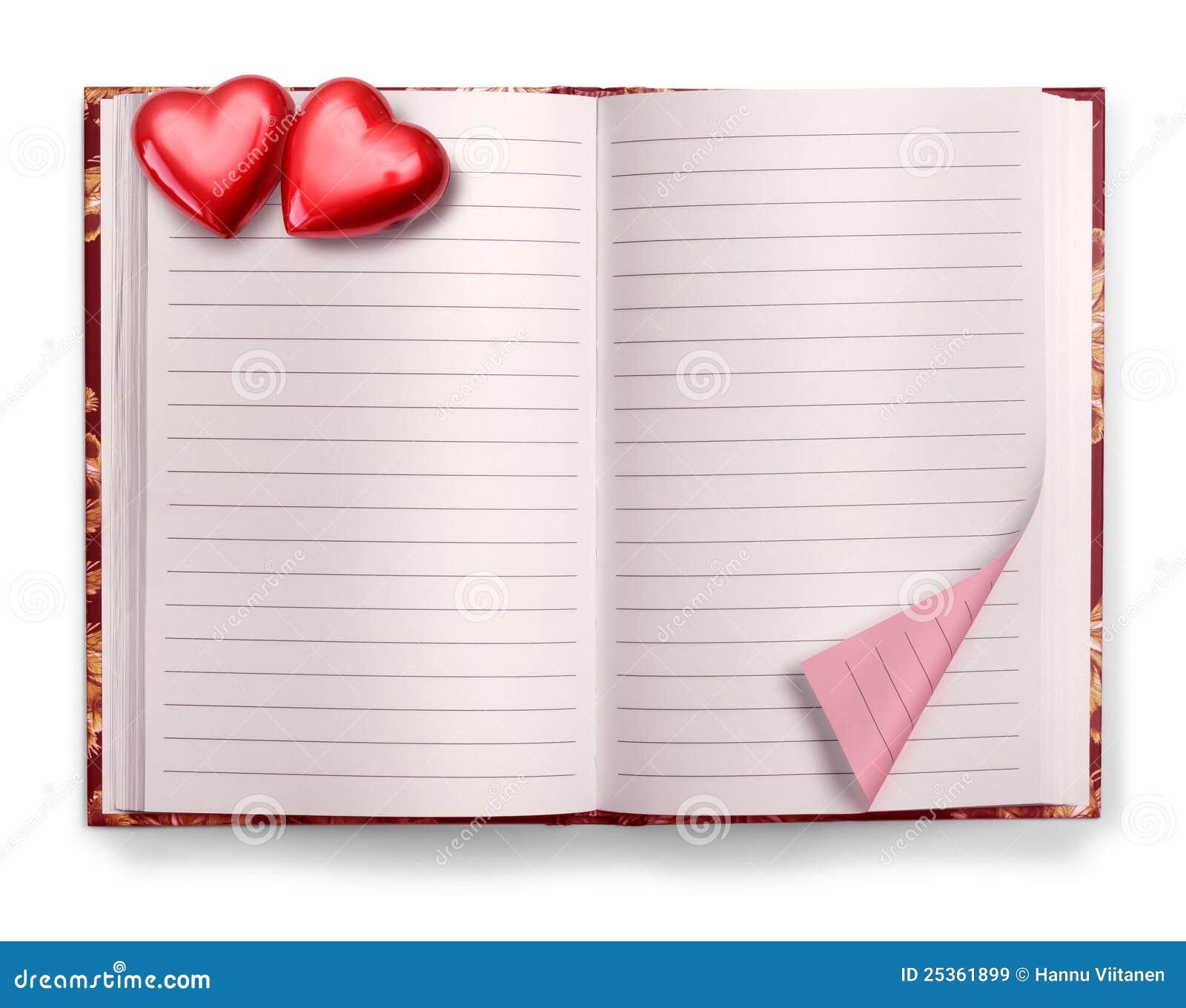 Pustego dzienniczka notatnika otwarty valentine
