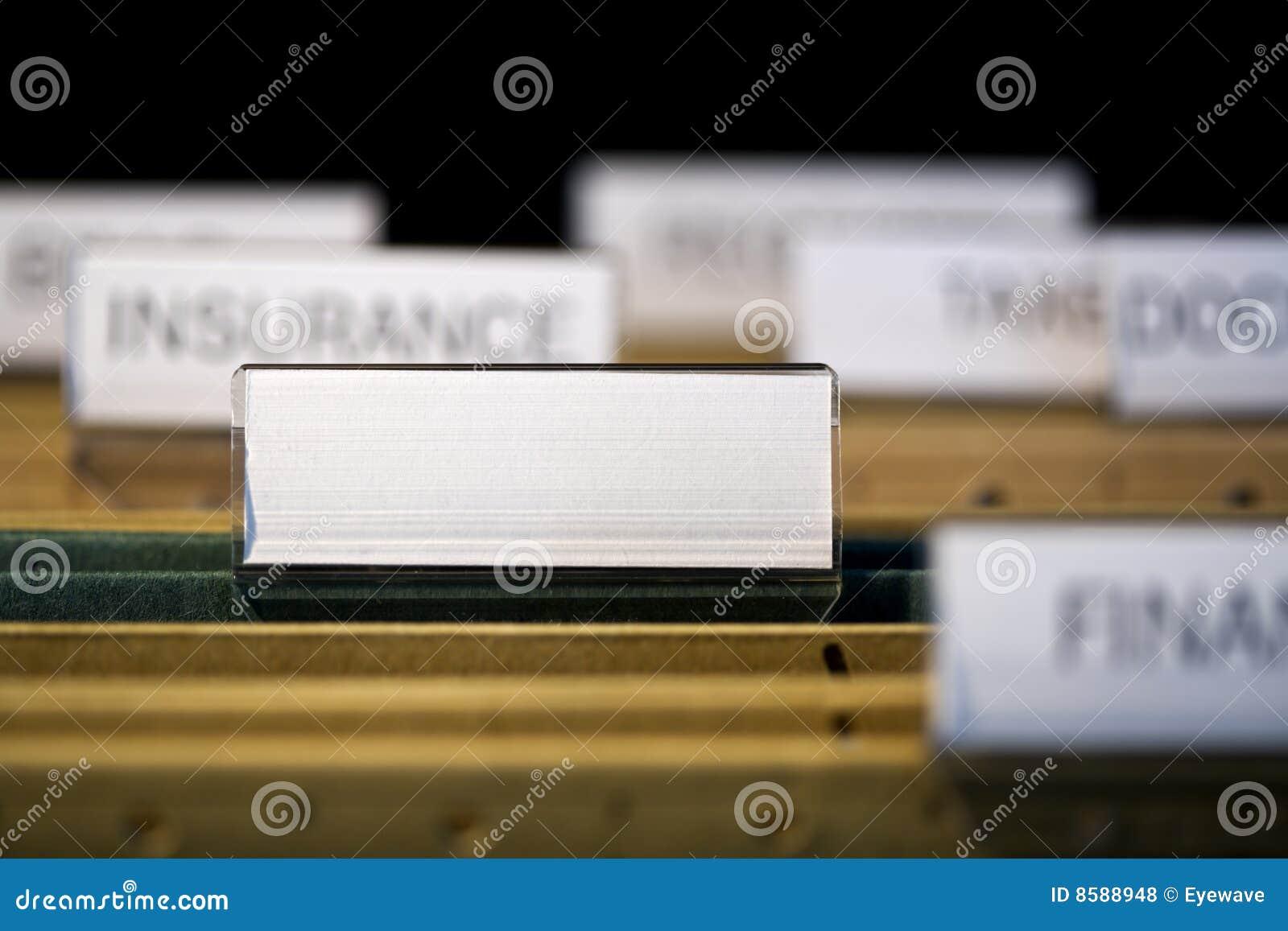 Pustego gabinetowego kartoteki segregowania skoroszytowa etykietka