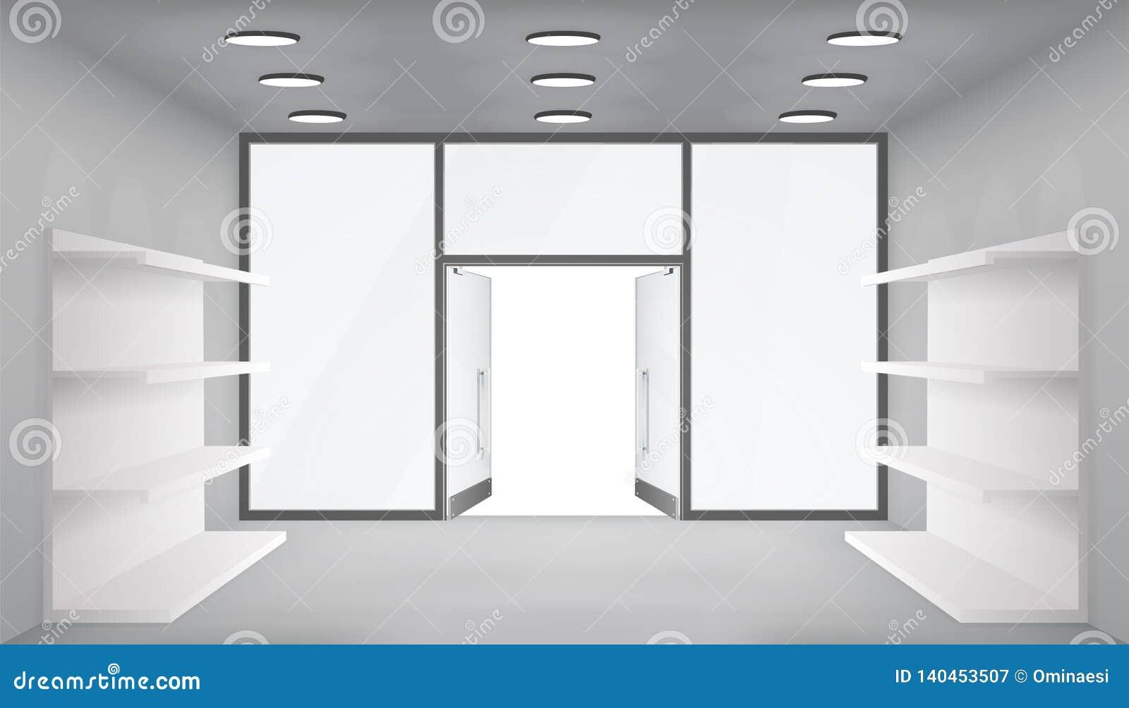 Pustego handlowego półka sklepu otwarte drzwich 3d sklepu przestrzeni wewnętrznego światła realistyczni okno interliniują szablon