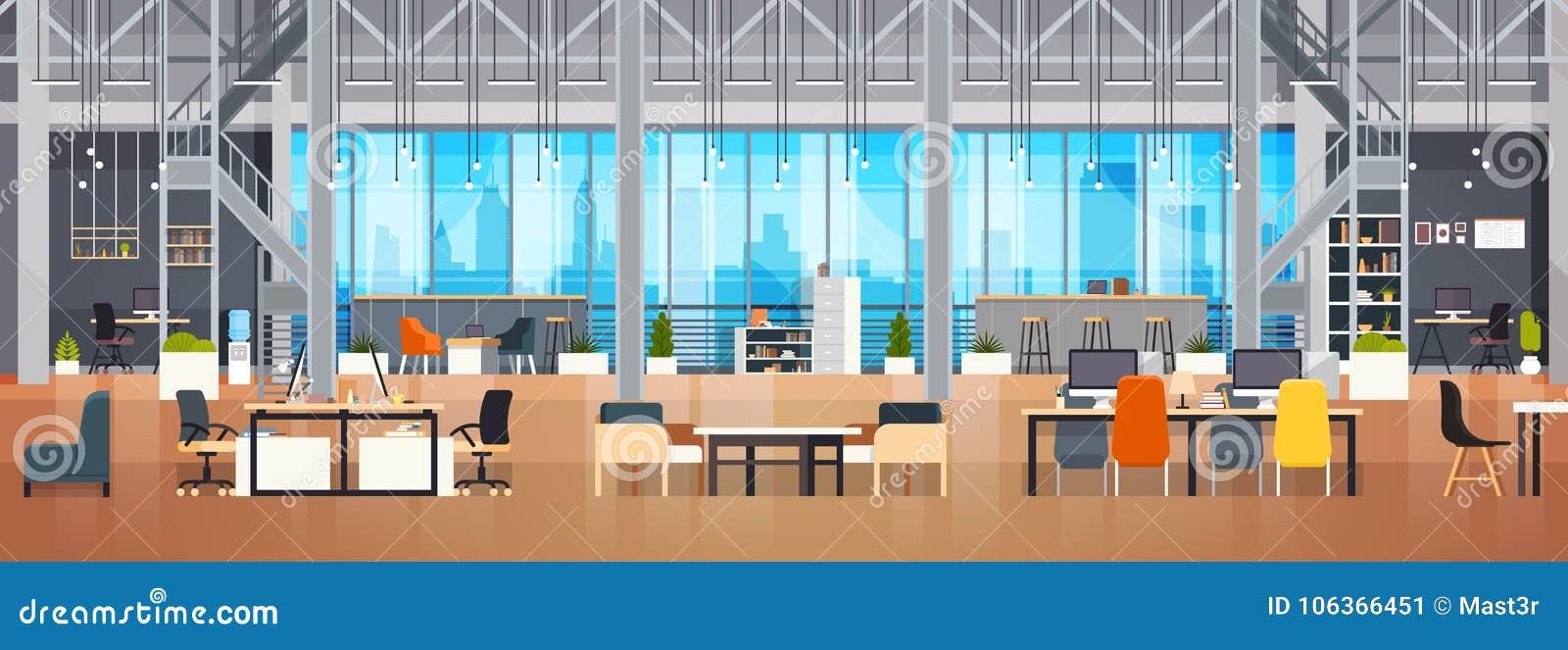 Pustej Coworking przestrzeni Coworking miejsca pracy Wewnętrznej Nowożytnej Biurowej Kreatywnie przestrzeni Horyzontalny sztandar