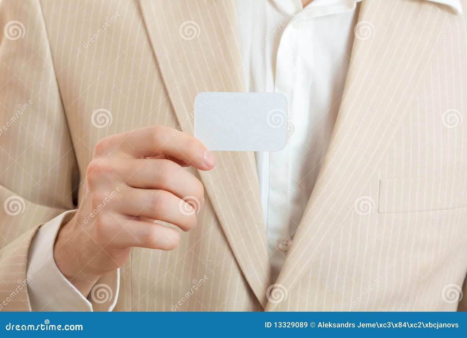Pustej karty mienia mężczyzna