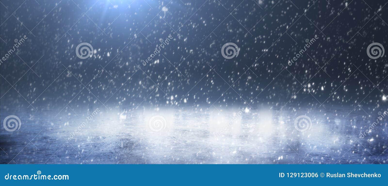 Pusty śnieżny lodowisko Śnieżna zima Tło panorama