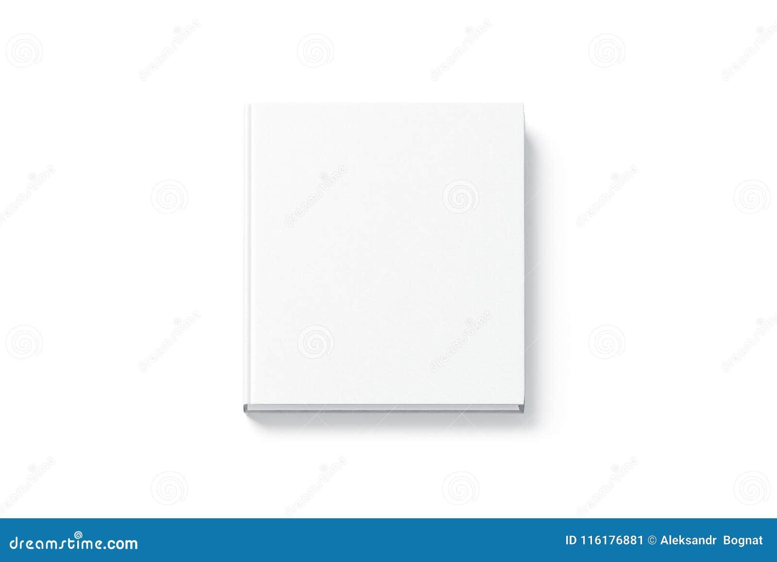 Pusty białego kwadrata hardback książki egzamin próbny up, odgórny widok